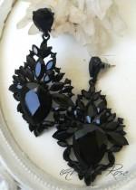 Черни кристални официални обици Paris Black
