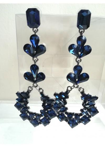 Дамски висящи обици в цвят тъмно синьо Paris in Blue