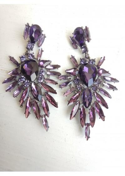 Абитуриентски обици с кристали в цвят лилаво модел Purple Beauty