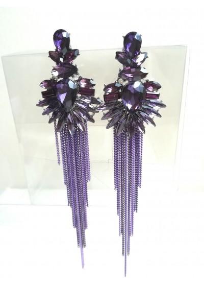 Дълги обици с кристали в цвят лилаво модел Purple Beauty