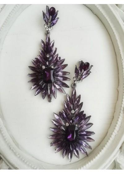 Ефектни официални обици с кристали в цвят аметистово лилаво модел Purple Blossom