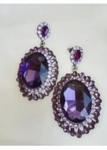 Елегантни кристални обици в цвят Аметист модел Purple Classic