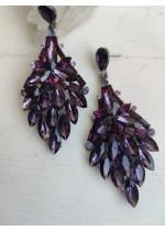Обици за бал с кристали в цвят лилаво модел Purple Elegance