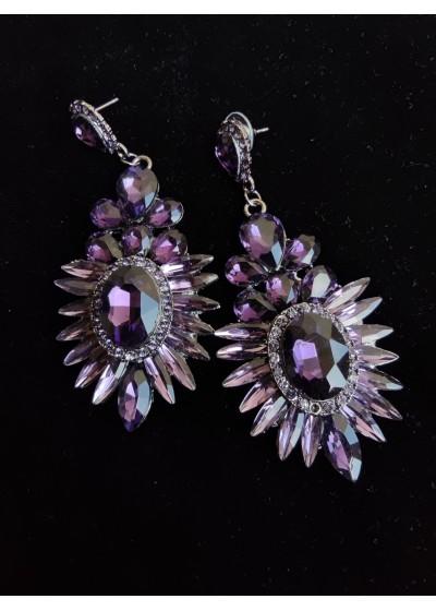 Обици за абитуриентка с кристали в цвят лилаво модел Purple Excellence