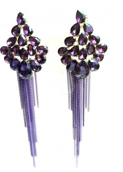 Дълги официални обици с кристали в цвят аметистово лилаво модел Purple Flowers