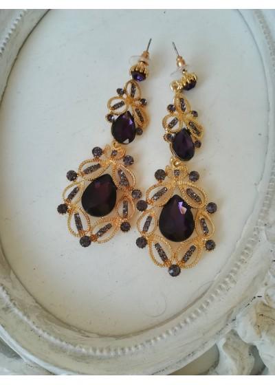 Официални обици в лилаво със златист обков - Purple Gold