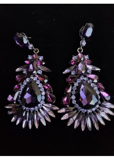 Ефектни обици за абитуриентски бал с кристали в цвят лилаво модел Purple Perfection