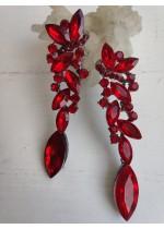 Луксозни официални обици за абиутриентка с кристали в червено - Red Drops