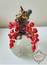 Висящи кристални обици в червено и златно модел Red Fashion by Rosie