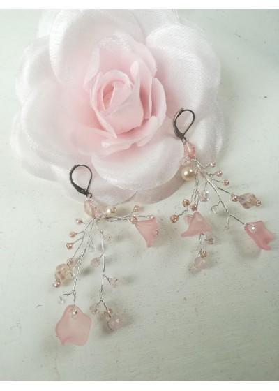 Официални обици с кристали Сваровски в розово и бяло Rose Magic Garden by Rosie