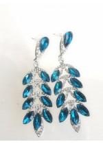 Дамски обици с кристали в цвят Тюркоаз Santorini