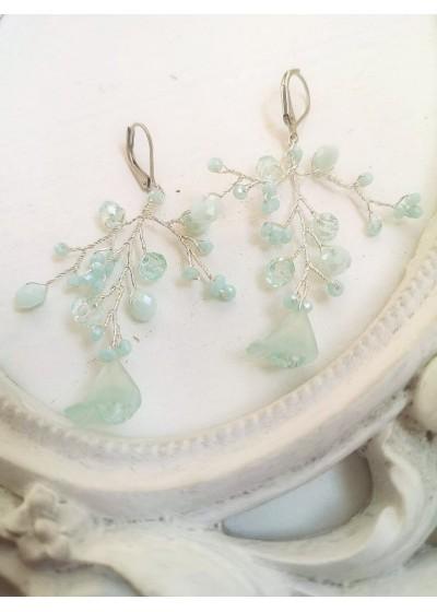 Уникални дълги обици с кристали Сваровски цвят Мента за сватба и бал Sweet Mint Flowers by Rosie