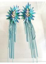 Дълги кристални обици в цвят светъл тюркоаз Tiffany Blossom
