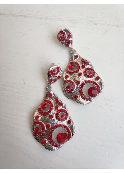 Кристални дамски висящи обици за бал и сватба - Unique Red