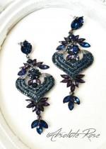 Официални кристални обици в тъмно синьо Venice