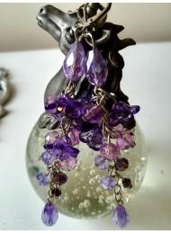 Ръчно изработени обици с кристали Сваровски в лилаво серия Tender Verbena by Rosie