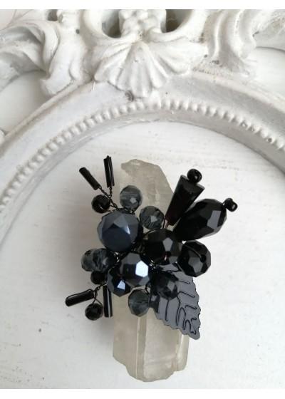 Уникален кристален пръстен ръчна изработка от серията Absolute Black Rose