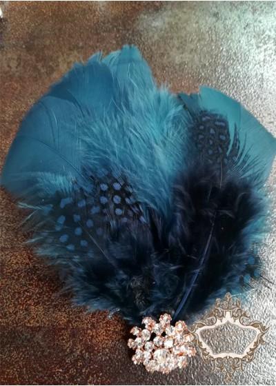 Украса за коса с пера и кристали в тъмно синьо лукс Dark-Blue Bird Lux