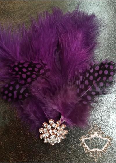 Украса за коса с пера и кристали в лилаво лукс Purple Bird Lux