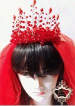 Булчински воал в червено модел Megan
