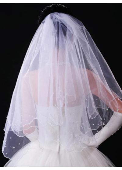 Булчински воал с перли в бяло модел Abby размер М